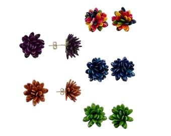Bridesmaid flower studs, bridesmaid proposal, set of 5 , set of 6, set of 7, flower girl gift, colorful stud earrings, flower earrrings