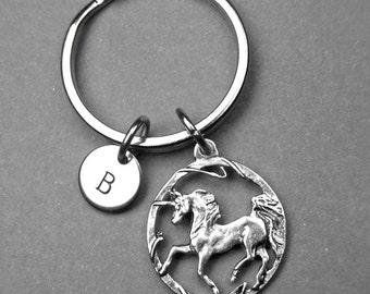 Unicorn keychain, unicorn charm, initial charm, birthday gift, unicorn lover gift, girls keychain, initial keychain, personalized keychain