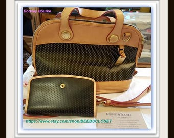 Vintage Dooney Bourke purse and wallet both are Leather   Textured Black and Tan original paper work Never used Leather Ready to ship