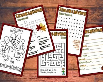 Kids Thanksgiving Printable Games Instant Download