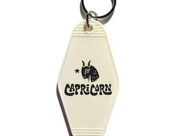 Capricorn Key Tag - White