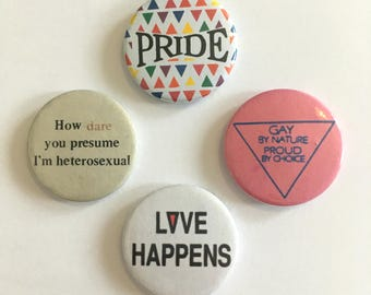 Set of 4 LGBT Gay Lesbian Pride Retro Style Badges