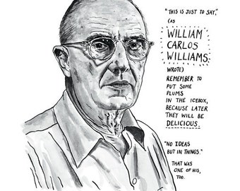 William Carlos Williams Poster Print Great American Poet Literary Print