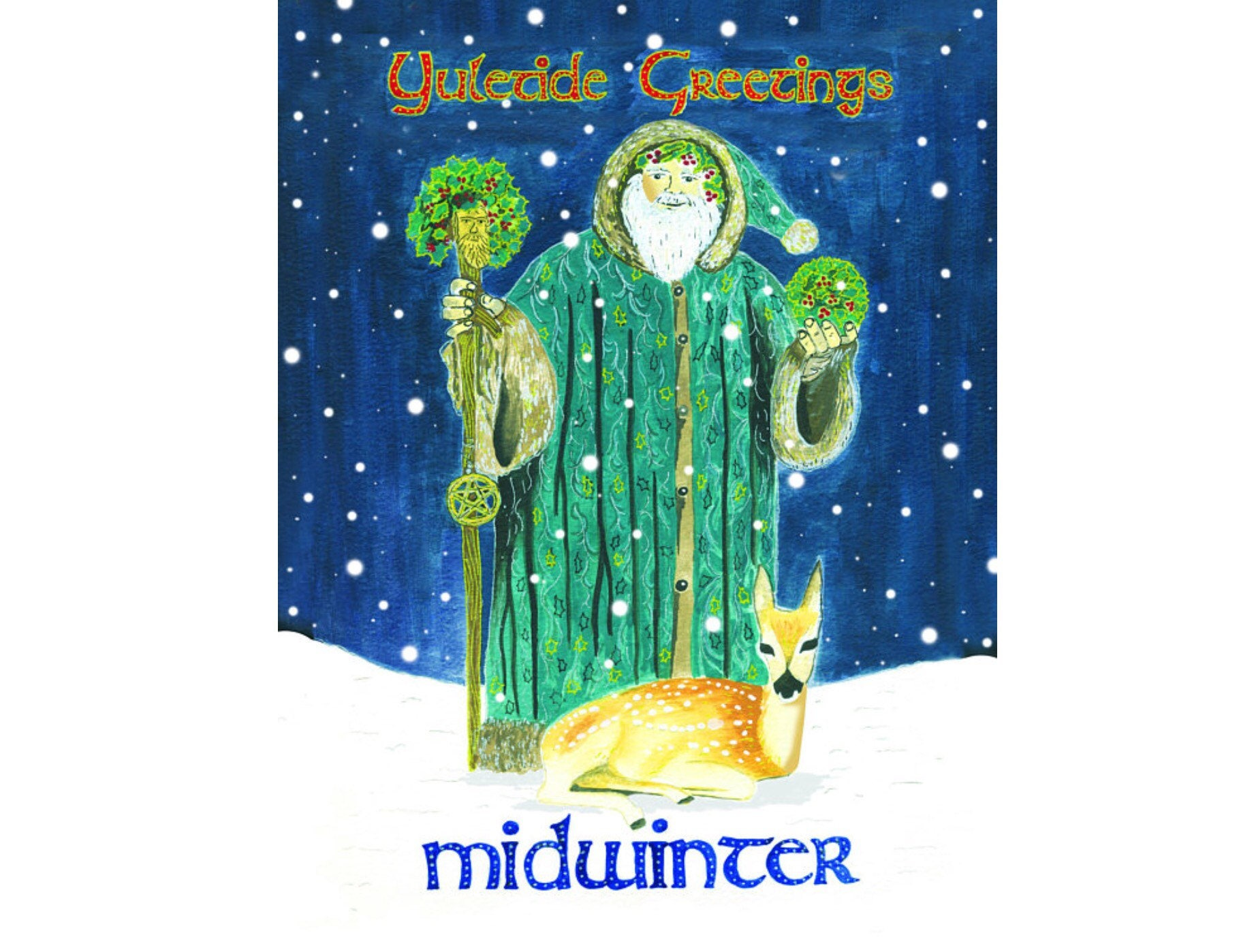 Holly King Winter Solstice Xmas Yuletide Colourful Pagan Fairy