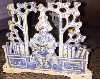 SALE Judd Book Rack Bookends w Scholar Adjustable Rack Art Deco Edwardian Cast Iron #9828 Steampunk Decor