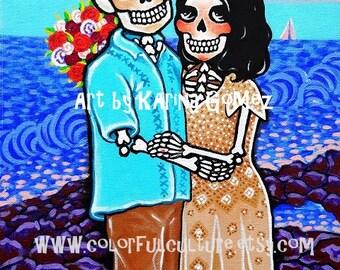 """Boda en la Playa"""" Beach Wedding -Art Print by Karina Gomez on Fade Free Paper-Bride and Groom- Dia de los Muertos -Day of the Dead Wedding"""