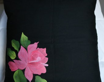 Hand painted Pink Rose  Black cushion cover, 100% cotton