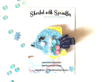 Fish Hair Clip, Blue and Yellow Tropical Fish Hair Clip/Headband, Glitter Hair Clip, Summer Hair Accessories, Sea Collection
