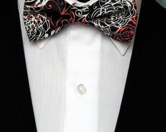 Floral Bow Tie, Floral Bowtie, Mens Bow Tie, Mens Bowtie, Red Bowtie, Black Bow Tie, White, Fathers Day, Birthday, Prom, Wedding, Bride, Dad