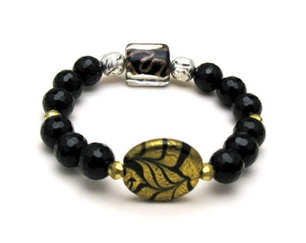Black and Gold Metallic Boho Beaded Bracelet, Murano Glass Stretch for Her Under 150 Mom Girlfriend Gift Double Focal