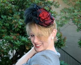 red and black cosmopolitan fascinator, made to order