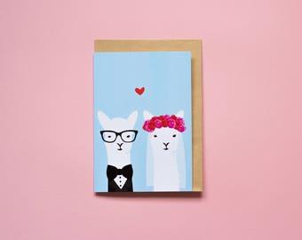 Wedding Llamas - Greeting card
