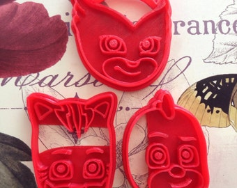 Pj Mask Cookie Cutters: Gekko, Owlette, Catboy, Night Ninja