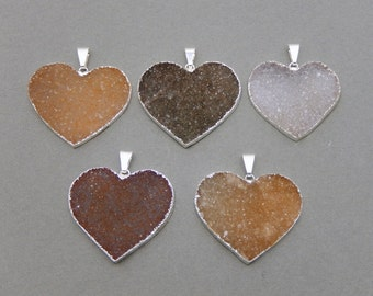Druzy Heart - Large Heart - Druzy Druzzy Drusy Heart Pendant Charm edged in Electroplated Silver (S81B2-04)