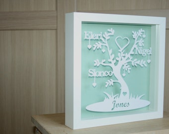 personal papercut, papercut art, Family tree, mothers day, fathers day, family, floating frame, box frame, sentimental personalized gift