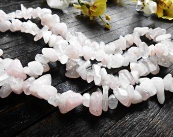 Raw Rose Quartz 8-12 mm 36 inch Chips Beads Cut Rough Pink Gemstone Natural Mineral Gem Strand Nugget Tumbled Irregular Stone Crystal