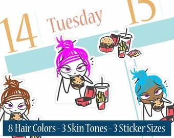 Burger planner stickers, Fast food planner stickers, Fries stickers, Filofax, Erin Condren, Happy Planner, Doodle Stickers, Raspberry Fields