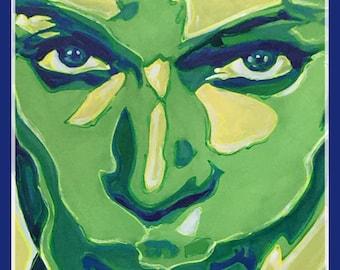 "Reyaz Nadi - Prince 17 ""close up""  Acrylic on Canvas 48""x32"" framed"
