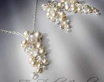 Crystal and Pearl Grape Cluster Bridal Necklace - KARA