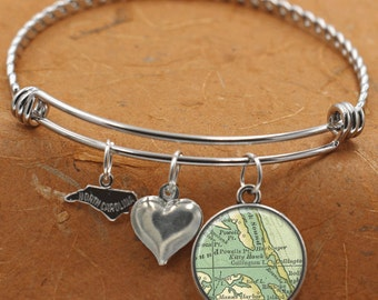 Kitty Hawk North Carolina Map NC State Charm Bangle Bracelet Personalized Custom Vintage Map Jewelry Stainless Steel Charm Bracelet