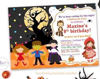 Kids halloween birthday invitations halloween party halloween costume party invitation halloween birthday invitation kids halloween party invitation personalized halloween filmwisefo Images