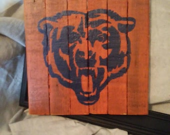 Chicago bears etsy chicago bears rustic wood sign man cave sign hand painted sports signs voltagebd Images