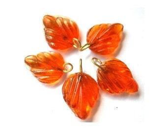 6 Vintage glass dangling beads leaf shape with self loop dark translucent orange 15mmx12mm