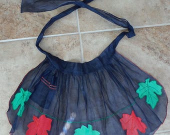 Handmade Blue Apron with Leaves, Fall Apron