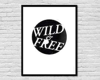 Wild & Free || Thoreau Print, Children's Art Print Poster, Nursery Art, Children's Room
