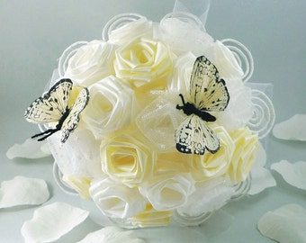 Origami Rose Wedding Bridal Bouquet with Whimsical Yellow Butterfly for Summer Weddings