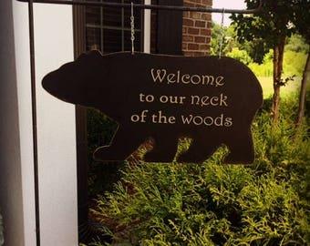 WELCOME Garden Flag | Cabin Garden Flag | Lodge Garden Flag | Rustic Garden Flag | Welcome Garden Flag | Mailbox Signs | Bear Garden Flag