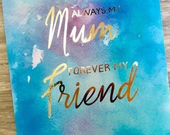Real Gold Foil Print Mother's Day Gift / Watercolour print /Family Print /Mum Print / Mother Print / Wall Art Print / Gift for mum