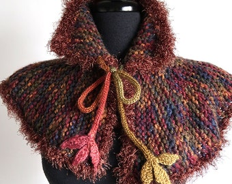 Woodland Capelet Brown Color Knitted Cowl Mini Poncho Turtleneck Collar with Crocheted Leaf Ties