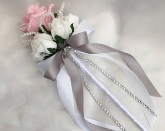 Artificial Wedding Flowers, Flower girls, Bridesmaids, Wand, Baby Pink and White Roses with crystals