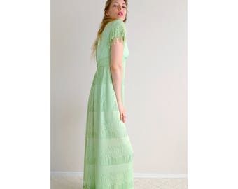 Vintage pastel green dress | fringe maxi gown short sleeves evening gown party summer dress green empire waist plunging neck | size small
