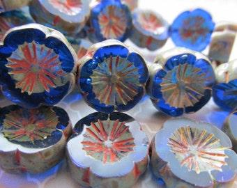 14mm Sapphire Blue Hawaiian Flower Czech Glass Beads, 14mm Czech Glass Flower, Blue Czech Glass, Flower beads, Czech Glass, Glass Flowers