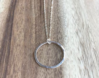 Hammered Circle Necklace, Silver Circle Necklace, Open Circle Necklace, Long Circle Necklace, Open Circle Necklace, Karma Necklace