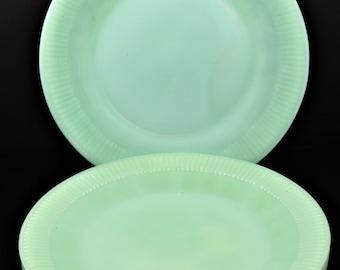 Set of 4, Fire King, Jadeite, Jane Ray Pattern, 9 1/8 Inch, Dinner Plates