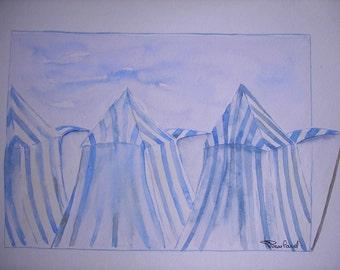 original watercolor painting marine: 3 striped awnings