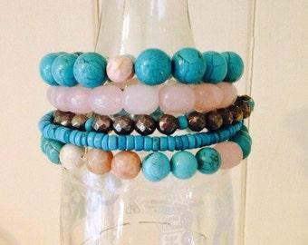 Rose & Turquoise Stacking Bracelet with Quartz, Magnesite, Pyrite and Sunstone gemstones