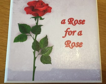Single Rose Tile Coaster
