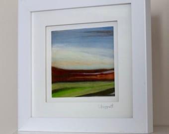 Fields of Green - Merino Wool - Artwork - Needle Art - Needlepoint - Felt - Fibre Art - Mini - Picture - Landscape Art - White Box Frame
