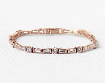 Rose Gold Crystal Bracelet Wedding Bracelet Rose Gold Bracelet Stackable Bracelet Tennis Bracelet Rose Gold Bridal Accessories B255-RG