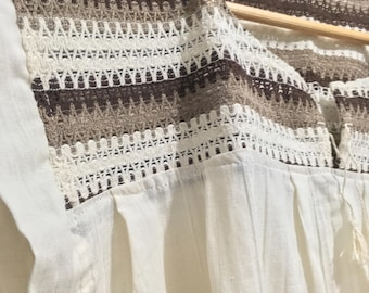 Traditional blouse/top from the Mitla region in Oaxaca, México, Beige and brown colors.