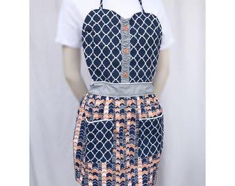 Navy and orange sweetheart apron