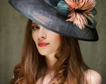 Kentucky Derby Hat Fascinator  - Black Sinamy Headpiece with feathers - Kate