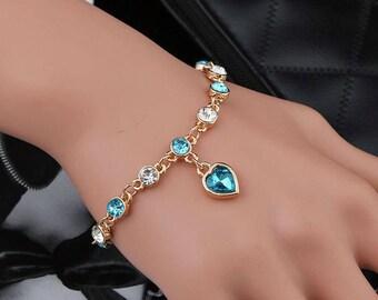 Crystal Charm Gold Link Chain Bracelet