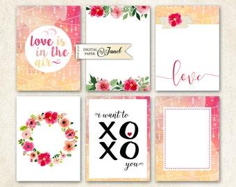 Zeitschrift Karten - Liebe - Projekt Life - digitale Collage Blatt - Set von 6 Karten - Printable Download