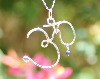 Sterling silver Om symbol necklace ~ Wire wrapped yoga necklace ~ Yoga Om necklace ~ Yoga inspired jewelry ~ Ohm symbol necklace