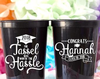 Graduation Cups, Class of 2018, Congrats Grad, Graduation Party Decorations, High School Graduation, College Graduation, Personalized Cup